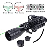 HIRAM 4-16x50 AO Rifle Scope Combo with Green Laser, Reflex...